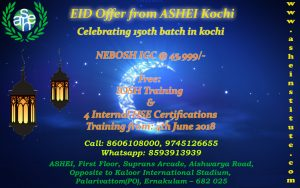 NEBOSH IGC @ 45,999/- with Free: IOSH Training & 4 Internal HSE Certifications To avail offer call on : 9447609617, 8606108000
