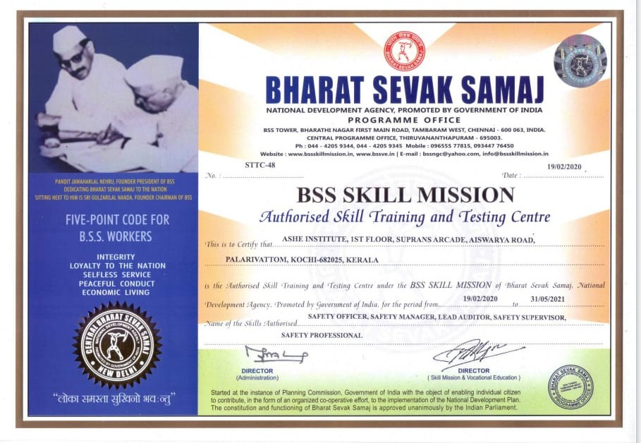 Ashei approved for BSS Skill Mission, training & testing Center in Kochi