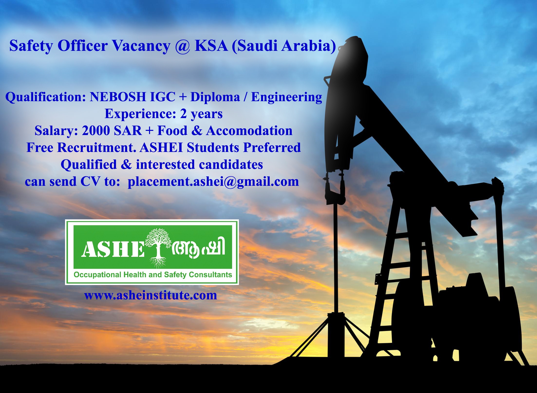 Safety Officer Vacancy at Saudi Arabia visit ASHEI
