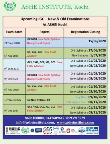 Upcoming IGC Exams in Kochi - Upto December 2020